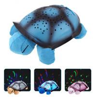 ingrosso proiettori per bambini-New Creative Turtle LED Night Light Giocattoli luminosi della peluche della stella della musica Giocattoli del proiettore per il sonno del bambino 3 colori