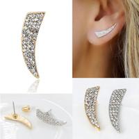 Wholesale Rhinestone Spikes Studs - Punk Trendy Crystal Rhinestone Knife Shaped Stud Earrings for Women Simple Metal Geometric Spike Earrings Gold Silver Plated Fashion Jewelry