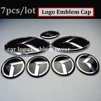 k3 adesivos venda por atacado-7 pcs Tampa Do Centro de Roda Do carro Tronco Emblema 3D etiqueta Capa Capô Volante Capota para kia OPTIMA K2 / K3 / K4 / K5 sorento adesivos de carro