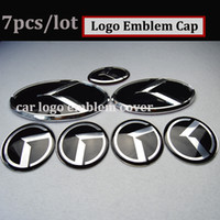 7pcs Car Wheel Center Cap Trunk Emblem 3D sticker Boot Hood Roda de direção Capota para kia OPTIMA K2 / K3 / K4 / K5 sorento carro adesivos
