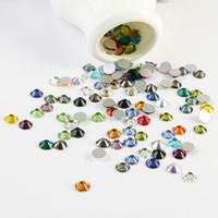 Wholesale Nail Crystal Mix Colors - 1400pcs Lot, ss3 -ss30 mixed Colors Flat Back Nail Art crystal Glue On Non Hotfix Rhinestones phone diy decoration
