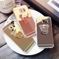 Wholesale Mirrors Ring - For Samsung S7 edge mirror phone cases cute bear Finger Ring Holder TPU plating back cover shell for Samsung S5 S6 edge J5 J7 Galaxy S8 Plus