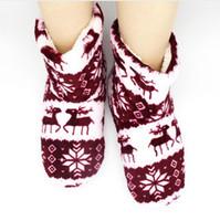niños zapatillas de navidad al por mayor-2017 niños lindos interior casa zapatillas zapatillas de franela de felpa piso de madera zapatillas para niños zapatos botas de invierno navidad