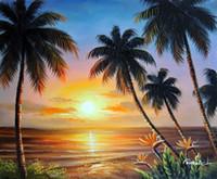 palmeiras de lona de óleo venda por atacado-Emoldurado Havaí Praia Sunset Palms Pássaro Do Paraíso Flores Pintados À Mão Seascape Art pintura a óleo Sobre Tela Multi tamanhos Frete Grátis J026