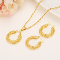 Wholesale 9k Pendant - Ethiopian Reak 9k Solid Fine Gold GF set Jewelry Pendant Chain Earrings African Bride Wedding Flower Circle Bijoux