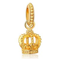 Gold Metal Crown Charms Wholesale Pas Cher-Vente en gros 20pcs / lot Fashion Copper Gold Plaated King Crown Design en alliage en métal Dangle DIY Charms adapter en Europe Bracelet Collier Low Price