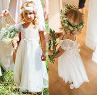 Wholesale Toddler Easter Shirt - 2018 Cheap A-line Chiffon Lace Flower Girl Dresses Wedding Baby Dresses Kids Communion Toddler Party Dresses