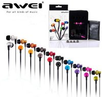 Wholesale awei cable online - Original Awei ES900i In Ear Metal Earphone with mic flat cable Stereo Super Bass Stylish sound Noise isolation headphone with retail box