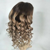 Wholesale Ash Blonde Lace Wig - #1bT#18 Full Lace Blonde Human Hair Wigs Wavy Brazilian Ash Ombre Full Lace Wig With Natural Hairline Baby Hair For Fashion Women