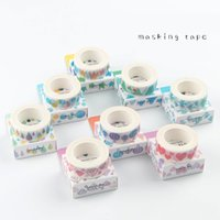 Wholesale scrapbooking washi tape - 24 Pcs Lot Water Color Paper Masking Tape Heart Diamond Bird Decorative Adhesive Tapes Washi Stickers for Scrapbooking 2016
