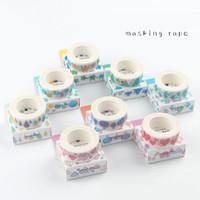 Wholesale tape decorative stickers - 24 Pcs Lot Water Color Paper Masking Tape Heart Diamond Bird Decorative Adhesive Tapes Washi Stickers for Scrapbooking 2016