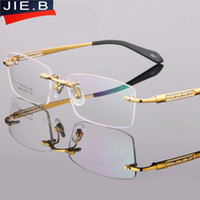 Wholesale Titanium Rimless Spectacle Frames - JIE.B Pure Titanium Eyeglasses Frame Eyeglasses Men Rimless Glasses Mens Optical Spectacles Eyewear Frames oculos of grau