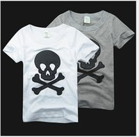 Wholesale Kids Embroidered T Shirts - Retail 2017 New Arrivals Summer Boys Girls Skull Embroidered T-shirt Kids Cotton Short Sleeve T-shirts Children Casual Tops Tees 90-130cm