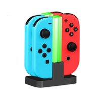Wholesale Led Acrylic Stands - LED Charging Dock Station Charger Stand Holder For Switch NS Joy Con Controller USB Charging Cable Colorful Acrylic Light 4 in 1
