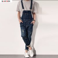 Full Length oversized jumpsuit - Classic Men Plus Size S XXL Denim Bib Overalls Multi Pockets Light Washed Blue Oversized Jean Jumpsuits For Male Big and Tall