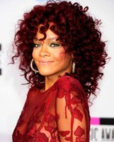 Wholesale Cheapest Afro Curly Wigs - Afro Kinky Curly Red Synthetic Wigs that Look Real Cheap Sexy Peruca Blanca Perruque for Black Women burgundy wigs
