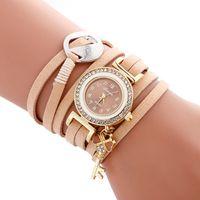 Wholesale Long Leather Watch Straps Women - fashion long leather straps women 2017 simple small diamond dial bracelet watch wholesale ladies casual love key pendant watches