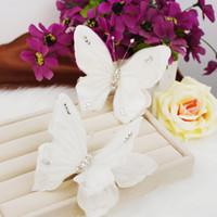Wholesale Hair Pins Wedding Butterfly - Wedding Bridal Handmade Handmade Butterfly Hair Pin 2PC lot Hairbands Wreath Headdress Crown Fashion Hair Jewelry Accessories 2018