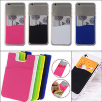 Wholesale Chinese Cell Phones Sale - 2017 Hot Sale Universal Fashion Adhesive Sticker Back Cover Credit ID Card Holder Case Sleeve Pouch Bag Wallet For Cell Phones Iphone 8 7 6s