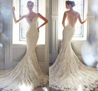 Wholesale Tuxedo Mermaid Dress - 2017 European Summer Bride Wedding Custom Wedding Dress Fishtail New Word Shoulder Small Tail Wedding Tuxedo Korean Lace Straps HY1814