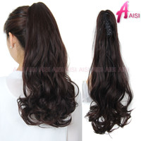 """Wholesale Pony Extensions - Wholesale-Synthetic Ponytail 21"""" 140g Long Curly Claw Drawstring Ponytails Hair Extension Blond Pony Horse Tail Fake Hair Tress Hairpiece"""