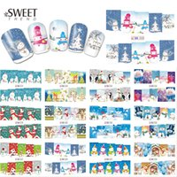 Wholesale Nail Stickers Xmas - Wholesale- 1Sheet Christmas Snowman Nail Art Stickers Full Wraps Water Transfer Designs Xmas Nail Tips Decals Manicure Decor BN217-228