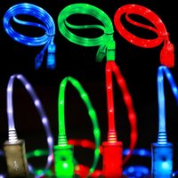Wholesale Luminous Cord - Luminous LED Visible Cable Flat Micro USB V8 Type c Charger Cable Cord line for samsung s4 s6 s7 S8 htc android phone 7 8 x
