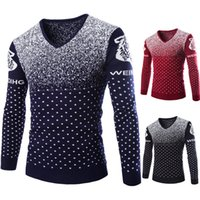 Wholesale Acrylic Snowflakes - Wholesale- Snowflake Fashion Men pullover Knitted sweater Harajuku V-neck Pullover men Pull homme Wool sweater men Christmas jumper