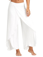 Wholesale sexy harem - Sexy High Split Mid Waist Wide Leg Flowy Pants Women Female Trousers Casual Summer Beach Long Loose Harem Pants Plus Size 5XL