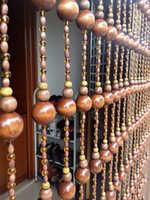 Wholesale transport gourd shape wood bead Cortina home decoration ornaments Lucky crystal Curtain cut off flavor length M