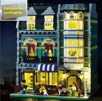 Wholesale Light Building Bricks - 2462pcs LEPIN 15008 15008B City Street Green Grocer Model Building Kits Blocks Children Educationsl Bricks Toys With LED light