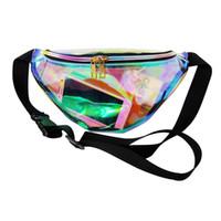 laser pvc venda por atacado-Atacado-Designer de holograma a laser pacotes de cintura transparente viagem casual bolsa de cintura impermeável sacos de geléia de PVC pequeno unisex hip saco 6colors