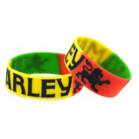 Wholesale bob marley bracelets for sale - Group buy 50PCS Inch Wide BOB MARLEY Silicone Bracelet Segmented Color Wear This Jewelry To Support Your Idol