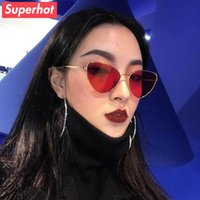Wholesale Blue Tinted Lenses - Fashion Cat Eye Sunglasses Women Brand Designer Sun glasses cateye Shades Cute Red Tinted Lenses UV400 30625