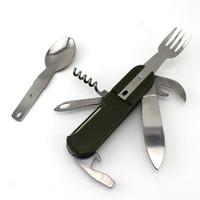 Wholesale Tableware For Camping - Multi Portable Folding Fork Spoon Knife Set Bottle Opener Outdoor Tableware for Camping Hiking Trecking BBQ Picnic