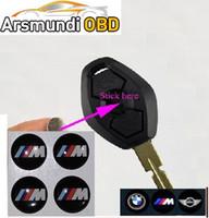 Wholesale Logo Sticker Button - 50pcs lot 3D For BMW M logo Folding key M sticker 11MM 12MM Auto Key Fob Emblem Badge Radio button Sticker For bmw M serials