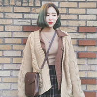 Wholesale Womens Thick Cardigans - Wholesale- 2016 autumn and winter korean style Vintage loose khaki twisted knitted sweater outerwear cardigan womens