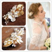 ingrosso accessori per capelli conchiglia-Beijia Handmade Shell Floral Clip di capelli Accessori da sposa Copricapo in oro Perle d'acqua dolce Gioielli per capelli da donna Copricapo