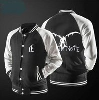 Atacado Nova jaqueta de baseball Japonês Cartoon Comic Death Note foto prinitng design man jacket