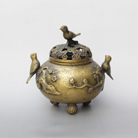 Barato China, Bronze, Incenso, Queimador-China Palace Bronze Brass Lucky Flower Bird Statue Incense Burner Censer Decoração de casas marcadas