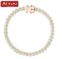 Wholesale Manufacturers selling natural freshwater pearl Titanium steel bear pearl popular first act the role ofing is tasted pearl bracelet
