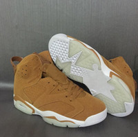 Wholesale Leather Shoes For Sale - 2017 Air Retro 6 Wheat Basketball Shoes Golden Harvest Elemental Gold-Sail Discount Men 6s Basketball Sneaker Athletic Sport Shoes For Sale