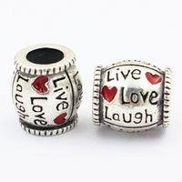 Wholesale Laugh Necklace - Live Love Laugh 925 Silver Red Heart Candy Shape Charm bead Ball Fit Europe Pandora Bracelet Necklace Authentic Accessories