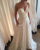 Wholesale Reception Dresses For Weddings - New Design Lace Wedding Dresses A-Line Sweetheart Backless Floor Length Sash Bow 2017 Boho Garden Beach Wedding Bridal Gowns for Reception