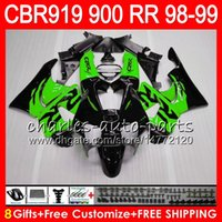 Wholesale 919 fairing - Body For HONDA CBR 919RR CBR900RR CBR919RR 1998 1999 68NO22 Green black CBR 900RR CBR919 RR CBR900 RR CBR 919 RR 98 99 Fairing kit 8Gifts