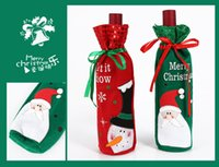 Wholesale Bag Articles - Santa Claus Red Wine Bottle Bag Christmas Decorations Articles Multi Function Champagne Cover Gift Bags