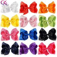 Wholesale Diamante Hair Bow - 12 Pc Lot 5 Inch JOJO Hair Bow Rhinestone Hair Clip Diamante Hair Bow For School Baby Kids Grosgrain Ribbon Bow