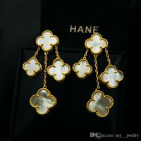 Wholesale offering plates - Fine Special Offer Women Selling natural shell Black Onyx clover four flower earrings earrings the size of 18k gold plated earrings