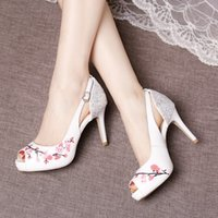 Nova chegada 2017 Sandálias de verão Printed Wedding Shoes Sequined High Heel Women Shoes para o partido Sapatos de noiva baratos com Peep Toes