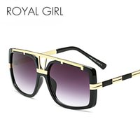Wholesale Royal Pc - Wholesale- ROYAL GIRL Trendy Metal Square Sunglasses Men Luxury Brand Vintage Women Designer Sun Glasses Gold Black ss110